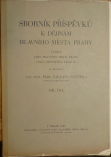Sborník příspěvků k dějinám hlavního města Prahy, Díl VIII.