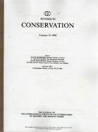Studies in Conservation, Volume 35 1990, 36 1991 (xerox)