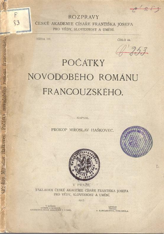 Počátky novodobého románu francouzského.